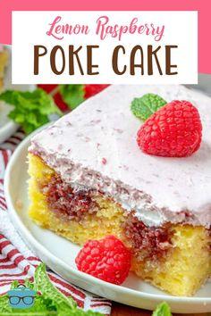 Lemon Raspberry Poke Cake is made with lemon cake mix, then raspberry jam is poked into the cake and topped with raspberry whipped cream! Cake Mix Desserts, Poke Cake Recipes, Best Dessert Recipes, Fun Desserts, Quick Easy Desserts, Homemade Desserts, Summer Desserts, Summer Recipes, Raspberry Whipped Cream