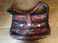 Vintage English Knit Bag Black Red White Handbag Carry Case Carrier Soft Accessories Knitted Hand Bag circa 1980-90's / English Shop by EnglishShop on Etsy