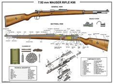 "Poster 18""x24"" Mauser K98 Rifle Manual Exploded Parts Diagram D Day Battle WW2 