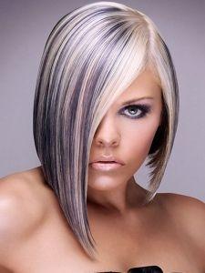 Platinum Blonde Hair with Purple Highlights
