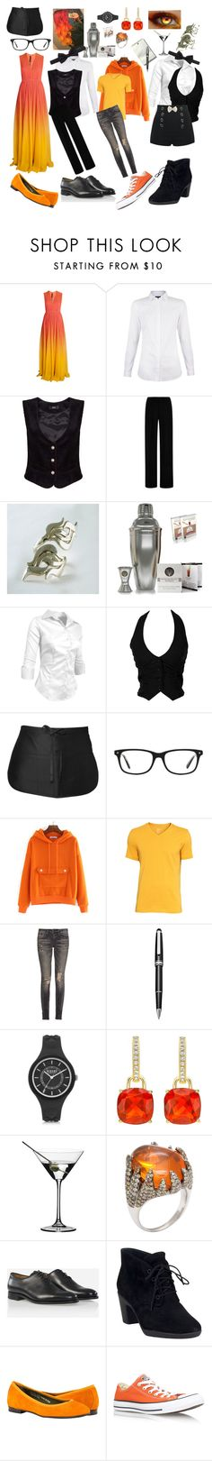 """Undertale: Grillby"" by cartoonvillian ❤ liked on Polyvore featuring Elie Saab, Clover Canyon, Chef Works, Kensington Road, R13, Montblanc, Versus, Riedel, Bow-Tie and Clarks"