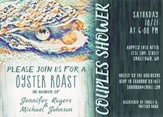 """Oyster Roast Couples Shower in Ocean Colors Invitation. Size: 5"""" x 7"""" Make custom invitations and announcements for every special occasion! Choose from twelve unique paper types, two printing options and six shape options to design a card that's perfect for you. Size: 5"""" x 7"""" (portrait) or 7"""" x 5"""" (landscape) Standard white envelope included Add photos and text to both sides of this flat card at no extra charge Use the """"Customize it!"""" CLICK IMAGE FOR MORE DETAILS. Couples Wedding Shower Invitations, Custom Invitations, I Do Bbq, Ocean Colors, Couple Shower, Colored Envelopes, Envelope Liners, Oysters, Smudging"""