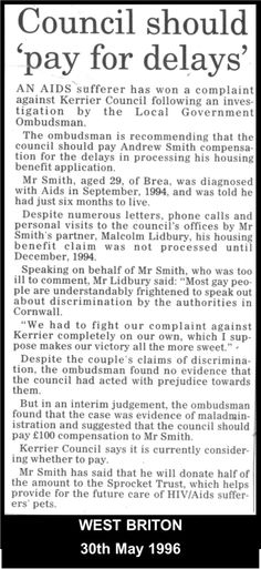 1996: Malcolm & Andy keep publicly piling on pressure on gay & HIV/AIDS discriminatory Cornish authorities.  #LGBT http://www.lgbthistorycornwall.blogspot.com