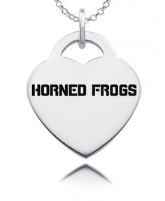 Texas Christian Horned Frogs  Silver Heart Charm