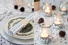 Una mesa de Navidad para salir de los colores clásicos  ). Platos de sitio ($34,90, Falabella), playo ($150) y de postre ($100, La Mélange), cubiertos (Plata Lappas), servilleta ($120, Crème Brûlée), servilletero ($350 x 4, I Central Market) y frascos con velas ($33 x 10, The Candle Shop).  /Magalí Saberian