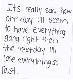 Most days now I'm happy but sometimes I get so sad that I just want to cry... Idk what to do anymore ~Taykenn