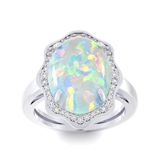 5 Carat TGW Opal and Halo Diamond Ring In 14 Karat Gold, Women's