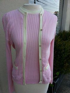 Chanel Designer Cardigan Twin set Top Size 44 Pink Cream 7 button Auction $199