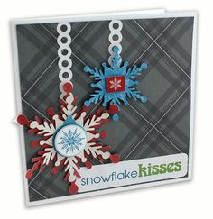 Cri-cut cartridge Holiday Tags and Frames - nice combination of stickers and cri-cut.  Snowflake Kisses Be Merry Christmas Card Project Idea from Creative Memories - using Limited Edition products available through December 2012.
