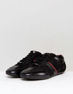 HUGO by Hugo Boss Sporty Leather and Mesh Detail Sneakers Black - Blac