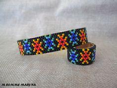Parure améridienne en perles Miyuki bracelet jonc et bague huichol Navajo tissée main ethnique Noir et multicouleur : Parure par m-comme-maryna Miyuki Beads, Navajo, Friendship Bracelets, Beaded Bracelet, Comme, Etsy, Accessories, Jewelry, Ethnic