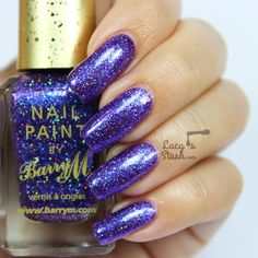 Barry M Glitterati Collection - Review & Swatches. Barry M: ☆ Fashion Icon☆ ... a grape PURPLE nail polish  with slight colour shift to blue. It mostly looks like dark purple but sometimes you can see a lot of electric blue in it... jam packed full of glitter!