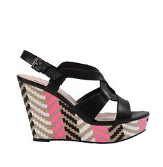 BLACK COLORFUL PATTERNED WEDGE SANDALS