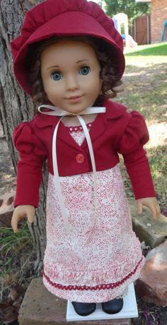 """18"""" Doll Clothes Regency Gown With Spencer Jacket and Bonnet Fits American GIrl Caroline, Marie Grace, Cecile, Josefina"""