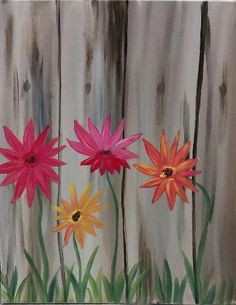 Daisies and a Fence at Flying Mouse Brewery - Paint Nite Events near Troutville, VA> Fence Gate Design, Fence Art, Garden Mural, Garden Fencing, Paint And Sip, Painting On Wood, Fence Painting, Acrylic Paintings, Paint Party