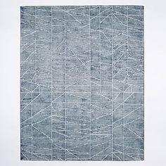 Erased Lines Wool Rug - Blue Lagoon #westelm