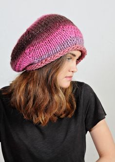 Pink hat  Multicolours beanie  Wool slouchy by Isabellwoolstudio