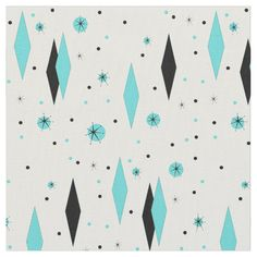 Shop Retro Turquoise Diamonds and Starbursts Fabric created by StrangeLittleOnion. Personalize it with photos & text or purchase as is! Mid Century Modern Fabric, Retro Fabric, Vintage Fabrics, Retro Ideas, Retro Home Decor, Custom Fabric, Mid-century Modern, Modern Design, Post Modern