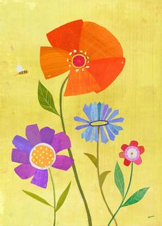 Flowers and Little Bee print by twoems on Etsy.