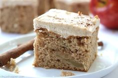 3 Ingredient Apple Cake with Brown Sugar Cinnamon Frosting - easy fall dessert. Dump Cake Recipes, Apple Cake Recipes, Apple Desserts, Fall Desserts, Dessert Recipes, Apple Spice Cake, Spice Cake Mix, Banana Crumb Cake, Cake Mix Desserts