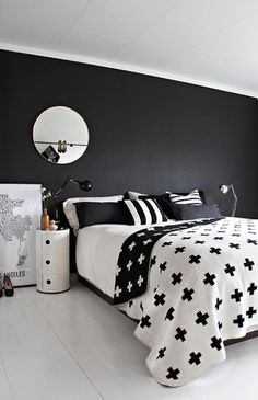 black-and-white-bedroom, Pia Wallen blanket, black focal wall