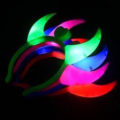 Devil Horns Head Band Party Dansferie ljus Lysande natt Light Child Adult  Headband bc6428c24893a
