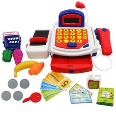 Usstore Kid baby Children Red Pretend Play Electronic Cash Register Realistic Actions Sounds With Mic Gift Toy Toddler Toys, Baby Toys, Kids Toys, Dango Peluche, Phone Watch For Kids, Kids Bed Design, Grocery Basket, Kitchen Sets For Kids, Cash Register