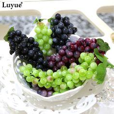 Luyue Artificial Plant Store Artificial Fruit Grapes Plastic Fake Decorative Fruit Home Wedding Party Garden Decor 3pcs/lot