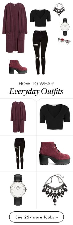 """Everyday grunge outfit"" featuring H&M, Topshop and Daniel Wellington Look Fashion, Teen Fashion, Autumn Fashion, Fashion Outfits, Womens Fashion, Daily Fashion, Mode Outfits, Outfits For Teens, Casual Outfits"