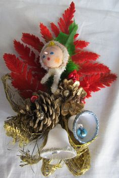 Vintage 1960's Red Flocked Christmas Corsage by AuntSuesVintage, $14.99