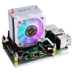 Easy to setup; Raspberry Pi 4 Case with ICE Tower Fan: copper tube;Super heat dissipation Rated power Power in (Can be powered by the Raspberry Pi) Super Cool fan background light (Multicolor) Raspberry Pi Foundation, Pi Computer, Cooling Tower, Tower Fan, Printed Circuit Board, Audio, Copper Tubing, Computers, Docking Station