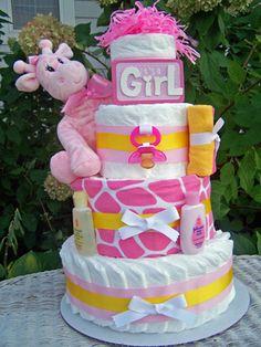 Giraffe Themed Diaper Cake for Girls