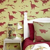 DESIGNER KIDS WALLPAPER- 'D'ya-think-e-saurus' in Green