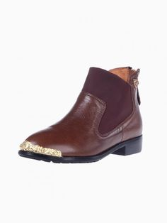 Brown Zip Ankle Boots With Metal Detail - Choies.com