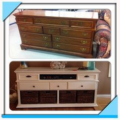 Old Dresser turned into entertainment center! Great for living room storage!!!
