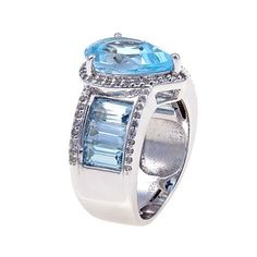 Colleen Lopez 9.33ctw Pear and Baguette-Shaped Sky Blue Topaz and White Topaz Sterling Silver Band Ring