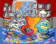 Colorful interior on Behance Color Bug, Scarf Design, Jewel Tones, Moleskine, Colorful Interiors, Illustrators, Illustrated Maps, Sketch, Interior Design