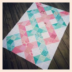 Lovely WIP Helix Quilt by Katie of Swim, Bike, Quilt.