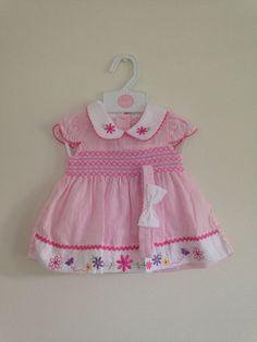 Baby Girls White Pink Applique Smocked Spanish Style Dress 0 3