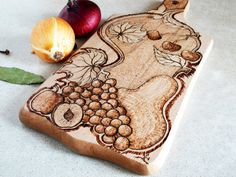 Cutting Board woodburning grape ornament one of a by SantianShop