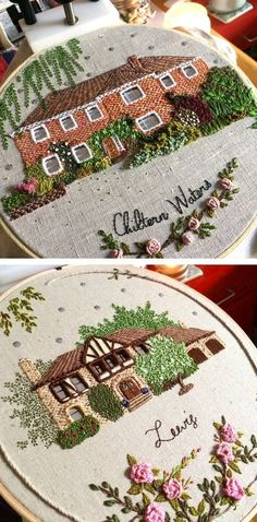 Embroidered houses by The Monster's Lounge #hoopart #embroidery #embroideryart #embroiderydesigns
