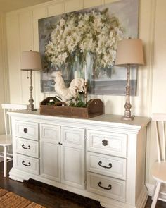 Farmhouse decor Best Picture For farmhouse dining french For Your Taste You are looking for somethin Decor, Home Decor Accessories, Cream Dining Room, Farmhouse Decor, Cheap Home Decor, Farmhouse Dining Rooms Decor, Dining Room Console Table, Dining Room Console, Buffet Decor
