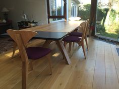 Client in Ireland - 200cm Veizla table, 4 Graphium chairs and a Veizla bench. Natural oil oak, claret colour upholstery on seats.
