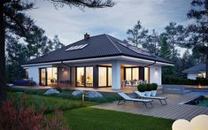Bungalow House Design, Tiny House Design, One Storey House, House Plans Mansion, Outdoor Spaces, Outdoor Decor, House Elevation, Dream Home Design, Building A House