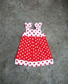 Toddler girl sleeveless dress red white spots little girl summer dress.  via Etsy.