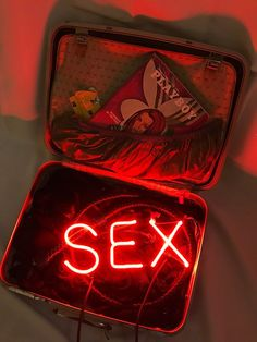 Available for sale from The Untitled Space, Indira Cesarine, SEX in a Suitcase Neon light Sculpture (handmade by artist), vintage leather suitcase,… Neon Wallpaper, Aesthetic Pastel Wallpaper, Aesthetic Backgrounds, Aesthetic Wallpapers, Neon Aesthetic, Bad Girl Aesthetic, Aesthetic Collage, Neon Licht, Neon Quotes