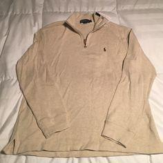 NWT Mens Polo Ralph Lauren 1/4 zip heathered Cream NWT Mens Polo Ralph Lauren 1/4 zip - heathered Cream. Size LG (Mens) Polo by Ralph Lauren Sweaters