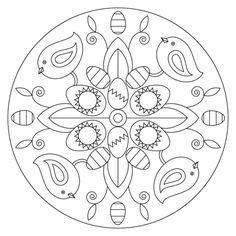 Easter Mandala with Birds and Eggs coloring page from Easter mandalas category. Select from 24652 printable crafts of cartoons, nature, animals, Bible and many more. Pattern Coloring Pages, Free Coloring Pages, Printable Coloring Pages, Coloring Sheets, Easter Egg Coloring Pages, Ecole Art, Printable Crafts, Vintage Easter, Art Plastique
