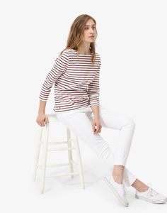 Harbour Cream Red Navy Stripe Jersey Top | Joules US