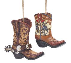 Set of 2 Cowboy Boots Large Western Christmas Tree Ornaments Burton&Burton #BurtonBurton #Western